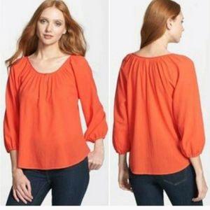 Joie women's cotton blouse bubble sleeves Size L